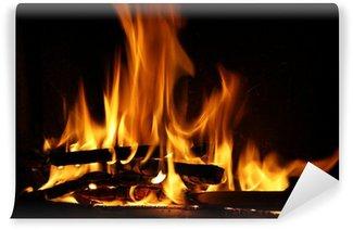 Vinylová Fototapeta Oheň v krbu, oheň plameny na černém pozadí