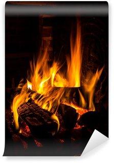 Vinylová Fototapeta Oheň v krbu