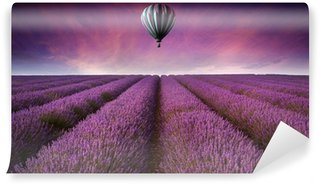 Vinylová Fototapeta Ohromující levandule pole krajina Letní západ slunce s horkým vzduchem bal