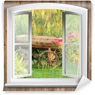 Vinylová Fototapeta Okna s výhledem do zahrady