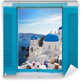 Vinylová Fototapeta Okno s výhledem na kalderu a kostel, Santorini