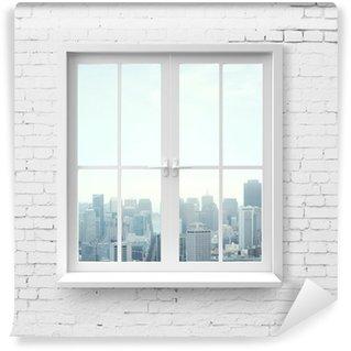 Vinylová Fototapeta Okno s výhledem na mrakodrapu