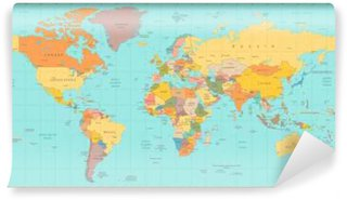Vinylová Fototapeta Old vintage barvy politická mapa světa