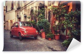 Vinylová Fototapeta Old vintage kult auto zaparkované na ulici v restauraci, v