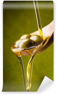 Vinylová Fototapeta Olio di oliva con sfondo verde