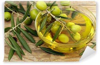 Vinylová Fototapeta Olivový olej a olivy