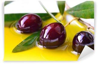Vinylová Fototapeta Olivový olej a větev olivy detailní, pozadí