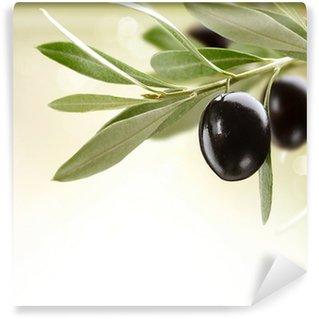 Vinylová Fototapeta Olivy. Black Zralé olivy na stromě