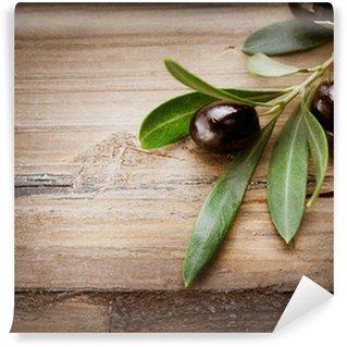 Vinylová Fototapeta Olivy na dřevo pozadí
