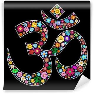 Vinylová Fototapeta Om Óm Namaste Yoga Symbol Floral Art design