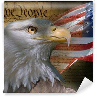 Vinylová Fototapeta Orel bělohlavý a americké vlajky