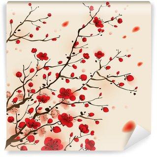 Vinylová Fototapeta Orientální styl malování, švestka květ na jaře
