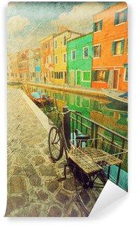 Vinylová Fototapeta Ostrov Burano. Benátky. Itálie. Obraz v umělecké retro stylu.