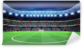 Vinylová Fototapeta Osvětlené fotbalový stadion s fanoušky v hledišti