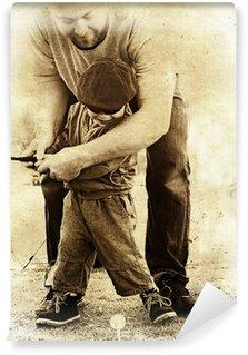 Vinylová Fototapeta Otec a syn hrát golf