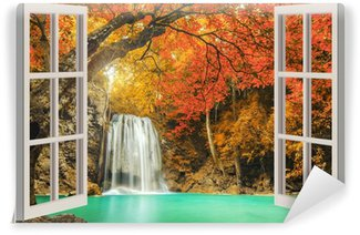 Vinylová Fototapeta Otevřené okno s výhledem na vodopád
