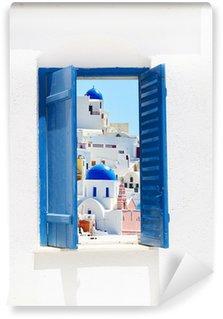 Vinylová Fototapeta Otevřít tradiční řecké modré okno na ostrově Santorini, Řecko