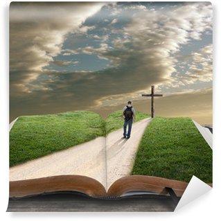 Fototapeta Vinylowa Otwórz Biblię z człowiekiem i krzyża