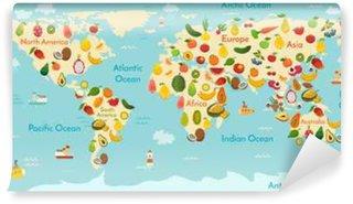 Vinylová Fototapeta Ovoce mapa světa. A zelenina. Vektorové ilustrace, školka, dítě, světadíly, oceány, čerpané, Země.