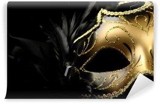 Vinylová Fototapeta Ozdobený karnevalové masky na černém pozadí hedvábí