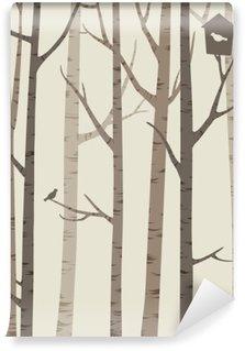 Vinylová Fototapeta Ozdobné siluety stromů s ptákem a ptačí budka