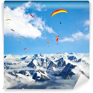 Vinylová Fototapeta Padákový kluzák letí proti oblasti Himaláje, Mount Everest, Nepál