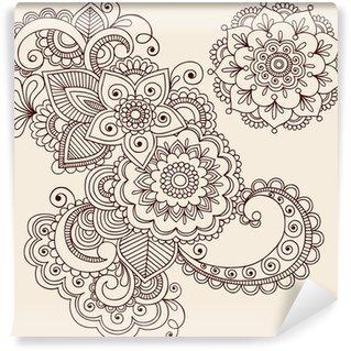 Fototapeta Winylowa Paisley abstrakcyjne henna tatuaż wektor kwiatów doodles