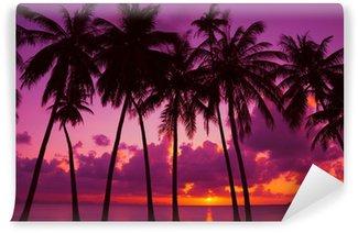 Vinylová Fototapeta Palmy silueta při západu slunce na tropickém ostrově, Thajsko