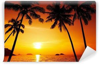 Fototapeta Winylowa Palmy sylwetka o zachodzie słońca