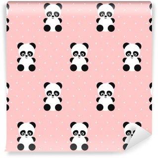 Vinylová Fototapeta Panda bezešvé vzor na puntíky růžové pozadí. Roztomilý design pro tisk na dětskými oděvy, textil, tapety, tkaninou. Vektorové pozadí s usmívající se dítě zvíře koala. Dítě styl ilustrace.