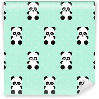 Vinylová Fototapeta Panda bezešvé vzor na puntíky zeleném pozadí. Roztomilý design pro tisk na dětskými oděvy, textil, tapety, tkaninou. Vektorové pozadí s usmívající se dítě zvíře panda. Dítě styl ilustrace.