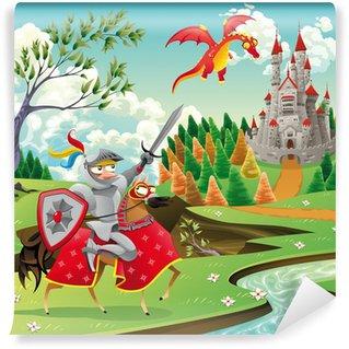 Vinylová Fototapeta Panorama s hradem, drak a rytíř. Vektorové ilustrace