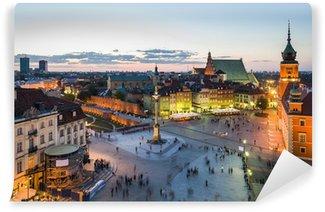 Vinylová Fototapeta Panorama Varšavě Starého Města v noci
