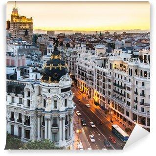 Vinylová Fototapeta Panoramatický výhled na Gran Vía, Madrid, Španělsko.