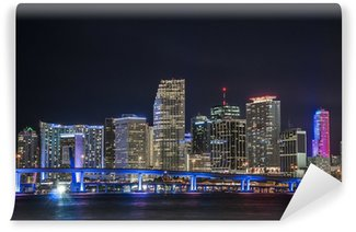 Vinylová Fototapeta Panoramica del centro financiero de Miami en la noche
