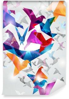 Vinylová Fototapeta Paper Flight. Origami Birds. Abstraktní vektorové ilustrace.
