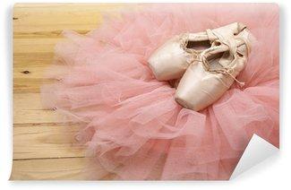 Vinylová Fototapeta Pár baletní boty pointes na dřevěné podlahy