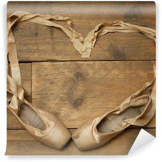 Vinylová Fototapeta Pár Ballet Shoes na dřevěné podlahy