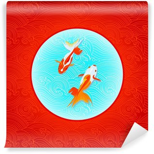 Vinylová Fototapeta Pár golfishes přes obráceného japonskou vlajku ve vlnách