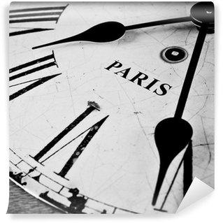 Vinylová Fototapeta Paris černé a bílé hodiny tvář
