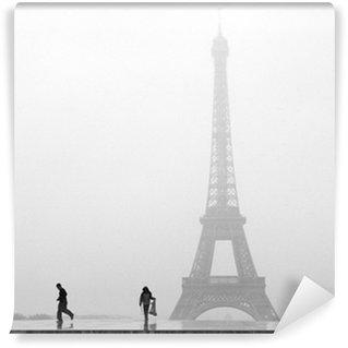 Vinylová Fototapeta Pařížské Eiffelovy věže ve sněhu