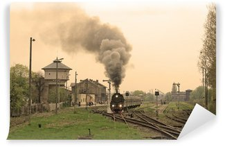 Vinylová Fototapeta Parní vlak retro počínaje stanicí