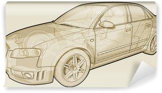 Vinylová Fototapeta Perspektiva útržkovité Ilustrace Audi A4.
