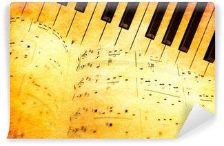 Vinylová Fototapeta Piano klávesnice a hudební listy ve stylu vintage