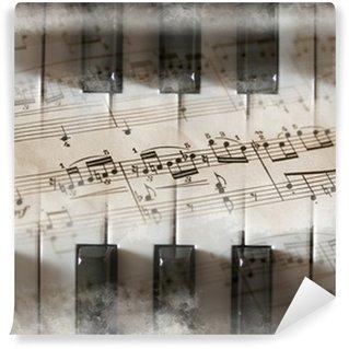 Vinylová Fototapeta Piano klíče, hudebniny, hudební noty