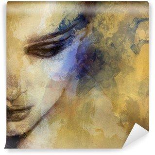 Fototapeta Vinylowa Piękna twarz kobiety. Akwarele ilustracji