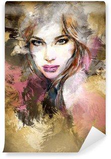 Fototapeta Winylowa Piękna twarz kobiety. Akwarele ilustracji