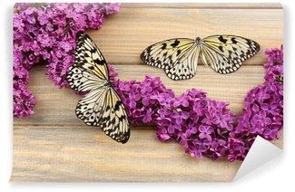 Fototapeta Vinylowa Piękne motyle i kwiaty bzu, na drewnianym tle