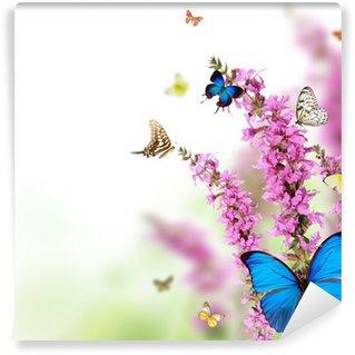 Fototapeta Vinylowa Piękny kwiat tła z egzotycznych motyli