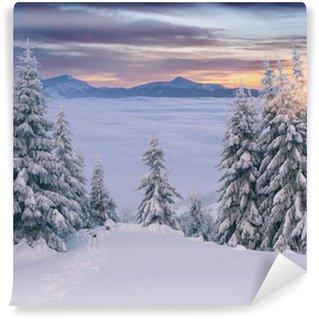 Fototapeta Winylowa Piękny wschód słońca w górach zimą